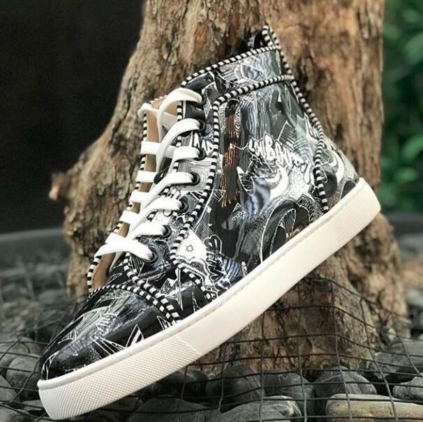 ZapatosLouboutinClcristianoGraffiti Patente de cuero High Top Top Fondo Rojo Zapatillas Zapatos Mujeres Hombres Diseñador de lujo Plano C YED
