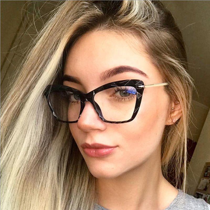 Lunettes de soleil en alliage oculaire de chat transparent cadre ordinateur femme hommes hommes anti-bleu lunettes bloquantes lunettes optique lunettes lunettes lunettes