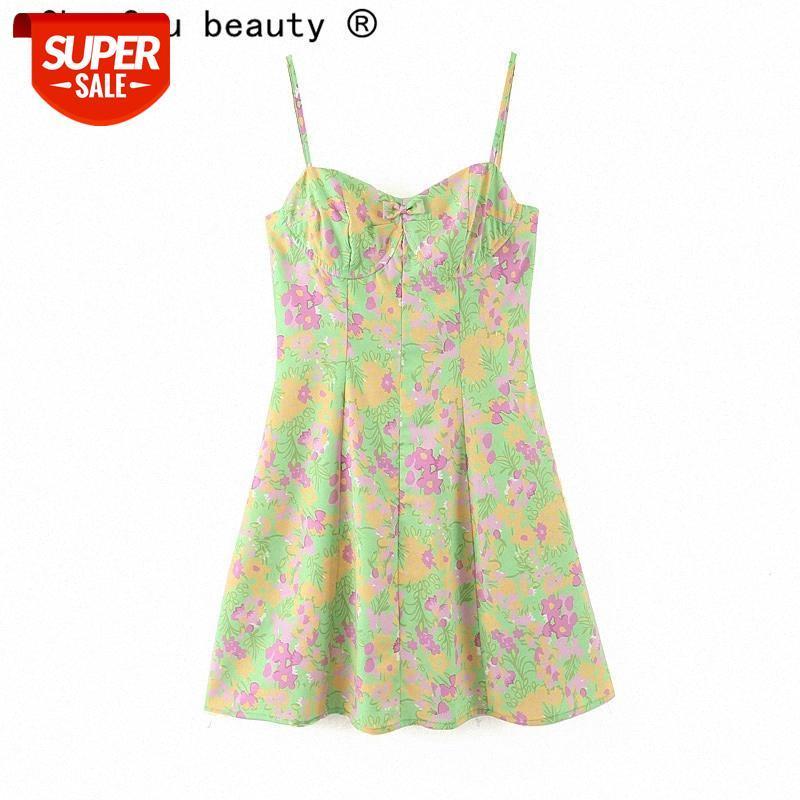 Nova Moda Sexy Chic Floral Imprimir Sling Mini Vestido Mulheres Festa Verão Profunda V-Pescoço Bow Strapless Senhoras Vestidos # YQ43