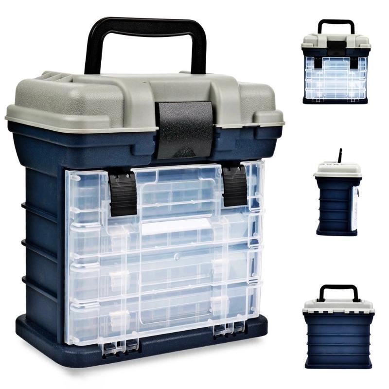 Портативный 27x17x26см 4 слоя большие рыболовные снасти коробки пластиковые ручки карповый корпус инструменты Acces La аксессуары