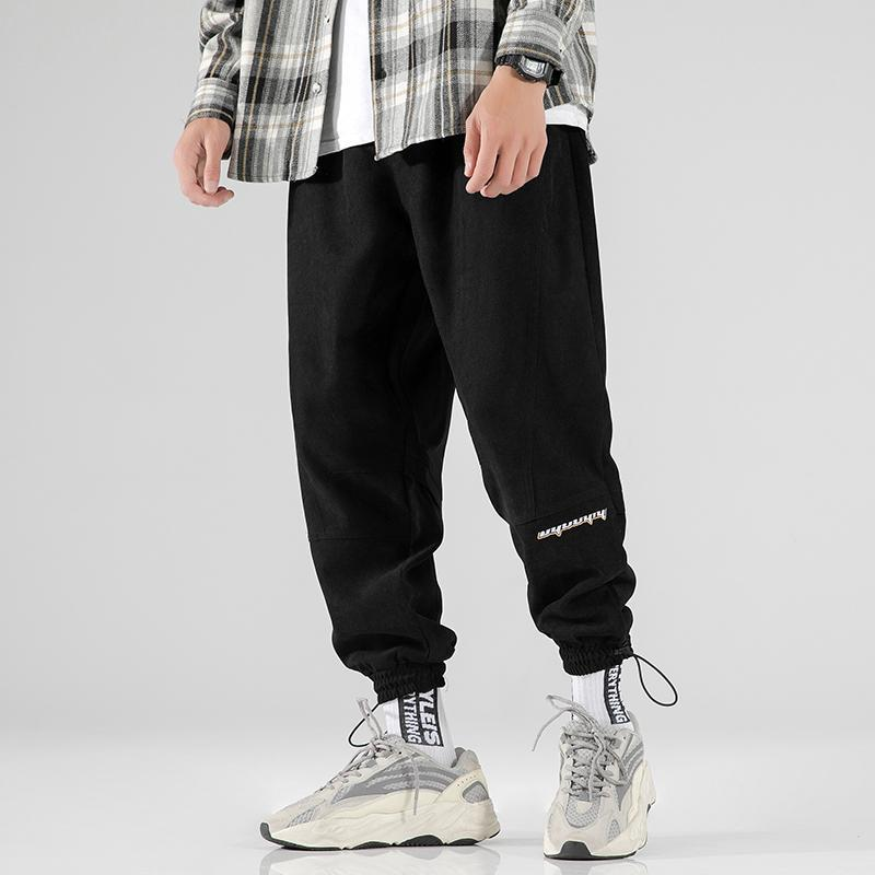 검은 조깅 바지 남성 패션 프린트 스트리트웨어 조깅 스웨트 팬츠 망 힙합 의류 캐주얼화물 바지 가을 겨울 옷 남자