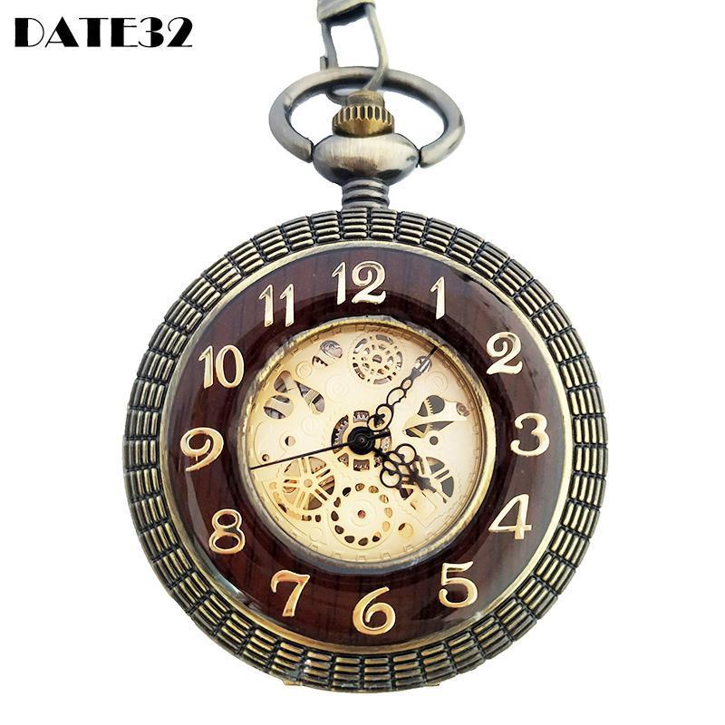 Estilo de estuche de madera de alta calidad Reloj de bolsillo mecánico antiguo Dial de esqueleto FOB Reloj de cadena con caja de regalo para hombres Relojes de caída