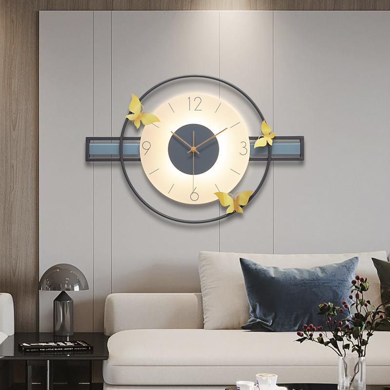 ساعات الحائط فريدة من نوعها المعادن تصميم الحديث الفاخرة الإبداعية مضيئة توهج في الظلام horloge murales الساعات EB50WC