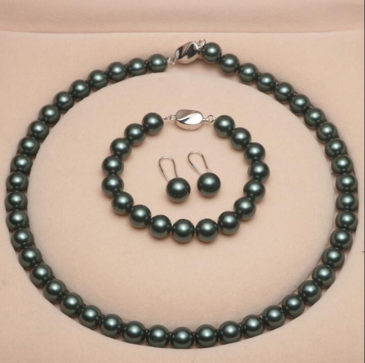 Fino moda doce 10mm pavão verde shell pérola colar bracelete brincos de três peças conjunto