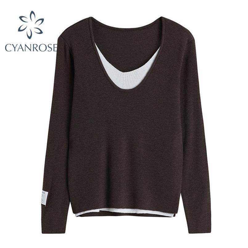 T-shirt lavorata a maglia Donne succhiate top regolari per signore casual allentati a maniche lunghe con scollo a V coreano primavera tees di base femminile 210515