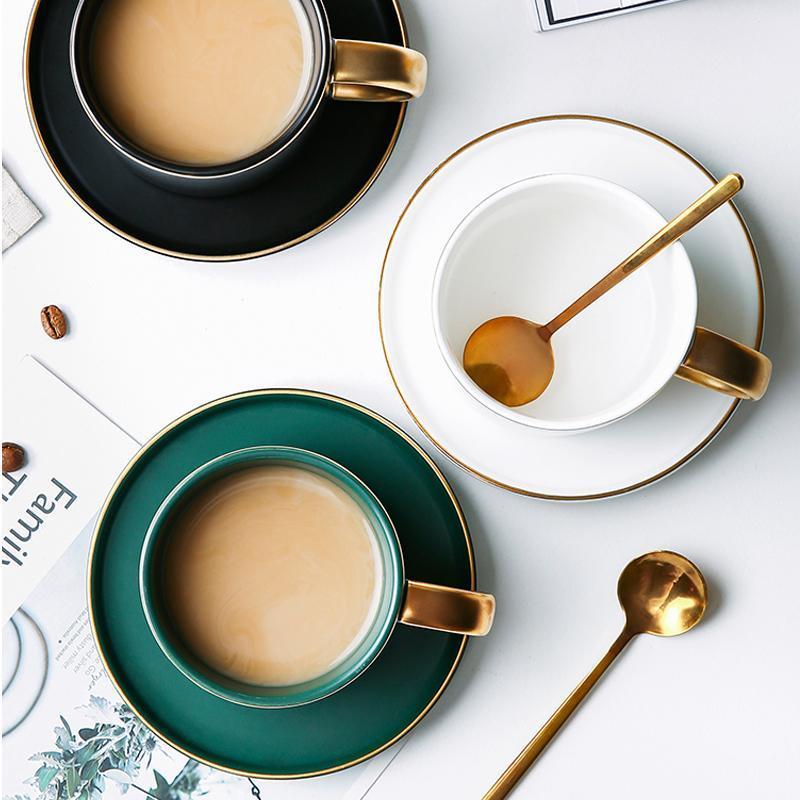 Mugs Green Ceramics Coffee Latte Mug Drinkware Soy Milk Breakfast Cup Fine Bone China Cute Tumbler Tea Cups And Saucer Spoon Set