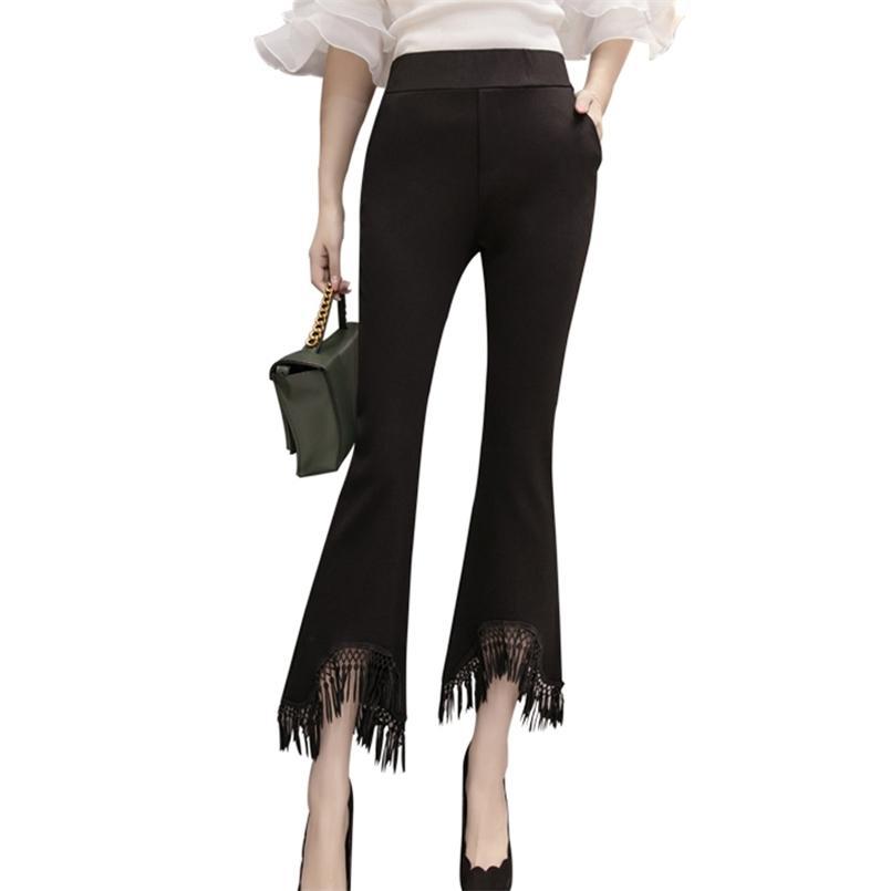 أنيقة النساء مضيئة السراويل الخريف الأزياء الشرابة الأسود منتصف الخصر مطاطا القطن عارضة الكورية السيدات كاملة 210517