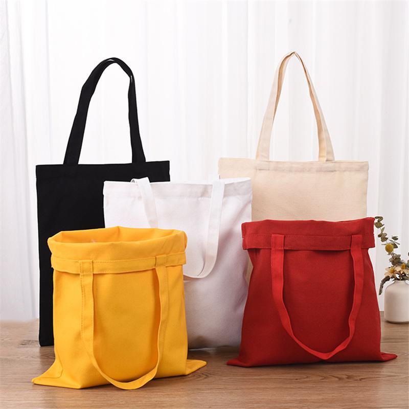 4 Colors Women's Canvas Shoulder Bags Woman Cotton Shopping Bags Soft Handbag Casual Cloth Tote Girl Bag Ladies Shop GWD8756
