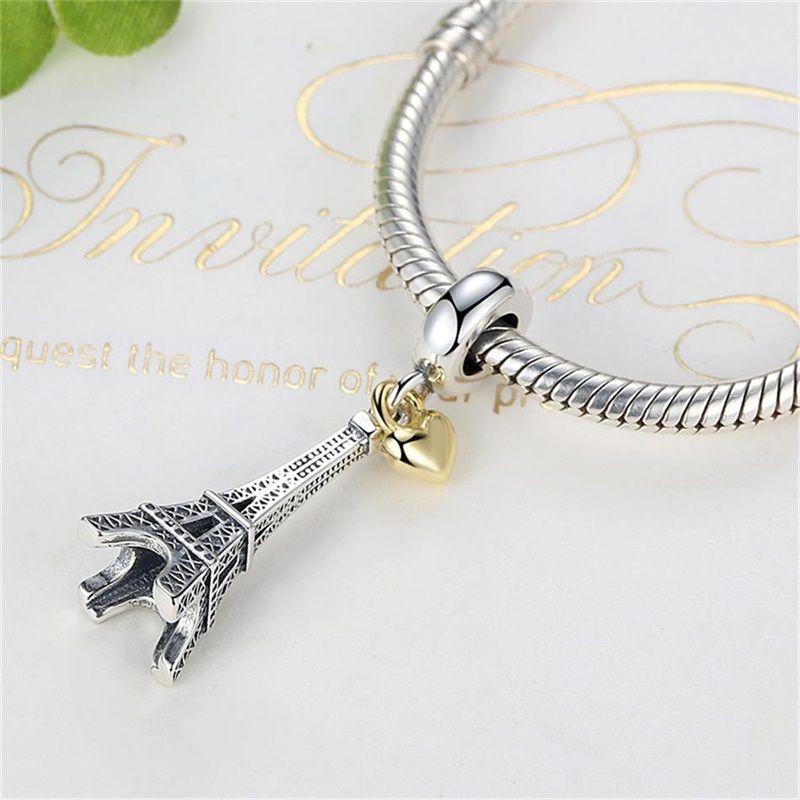 Paris Eiffel Tower Charm Pendentif Gold Heart Beads Fit Pandora Bracelets Colliers 858 Q2