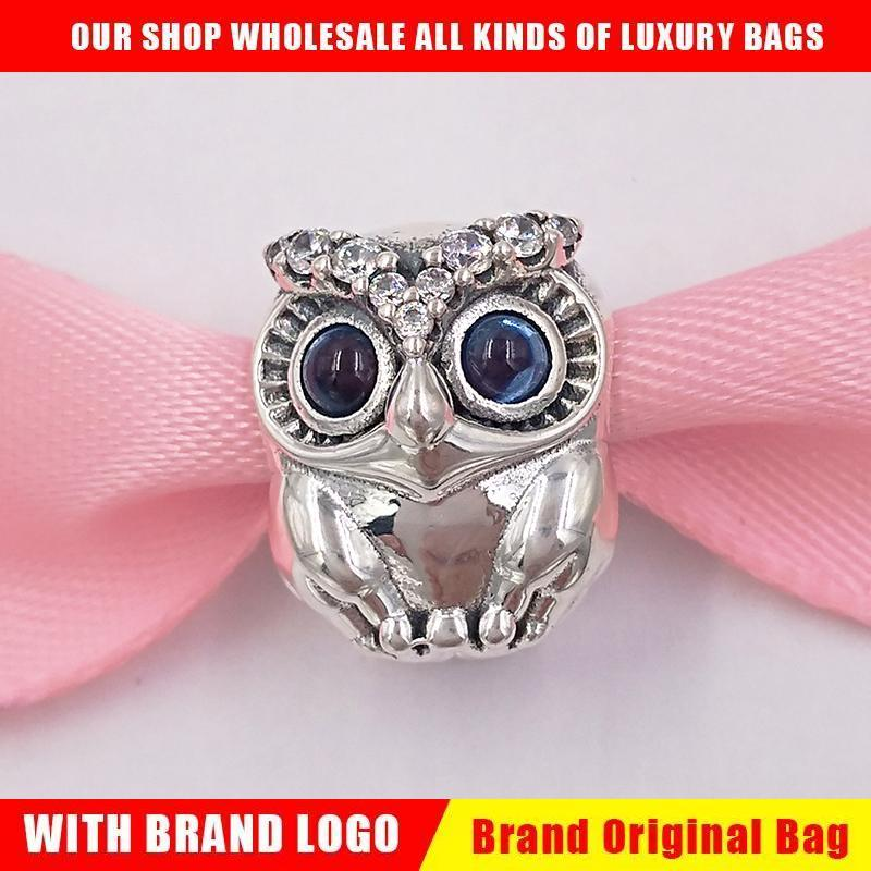 Authentic 925 Sterling Silver Beads Sparkling Owl Charm Charms Fits European Pandora Style Jewelry Bracelets & Necklace 798397NBCB