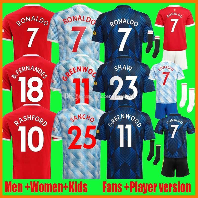21 22 Ronaldo B. Fernandes Fussball Trikots Sancho Greenwood Fan Spieler Verison United Cavani Manchester Camiseta Futbol Utd Rashford Kinder Kit 2021-22 Fußballhemden