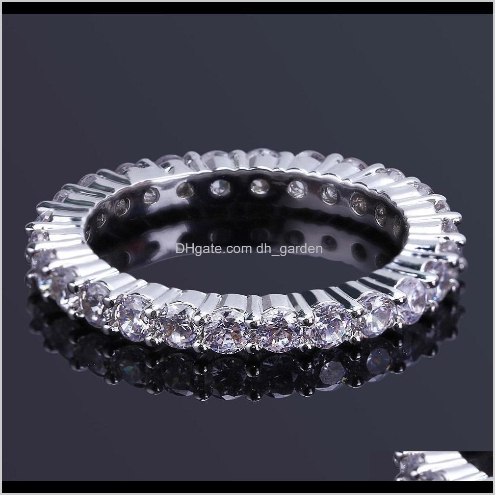Кластер белый позолоченный полный CZ Zirconia теннисные кольца пальцев алмазные хип-хоп рок рэн ювелирные украшения подарки для мужчин и женщин Размер 811 JN WOQ8O