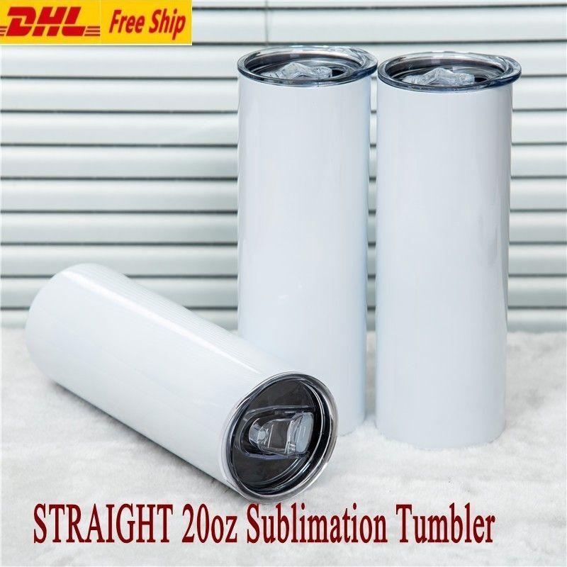 도매 20 온스 DIY 승화 짚 및 뚜껑이있는 직선 텀블러 벽 보온병 열 트레인 컵 머그잔