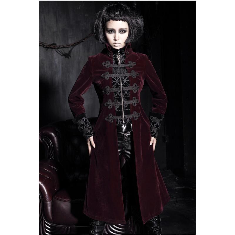 Mode Gothic Punk Womens Streampunk Jacke Mantel Hoodie Black Military Cosplay Outfit Y401 Damenjacken