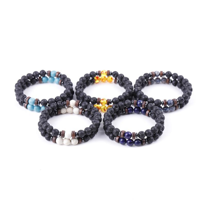 Natural Lava Stone Bracelet for Women 8mm Yoga Beads Essential Oil Diffuser Bracelets Bangle Beaded Hand Strings Kimter-Q409FZ