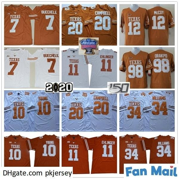 NCAA 150th Texas Longhorns College 11 SAM Ehlinger 7 Shane Buechele 10 Vince Young 20 Err Campbell 34 Ricky Williams Orange White Jersey
