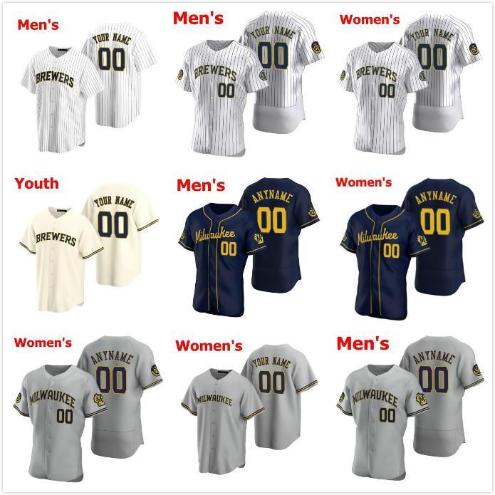 2021 Jersey Milwaukee Erkek Kadın Çocuklar 22 Christian Yelich Josh Hader Woodruff Lorenzo Cain Ryan Braun Brent Suter Arcia Brewers Beyzbol Formaları