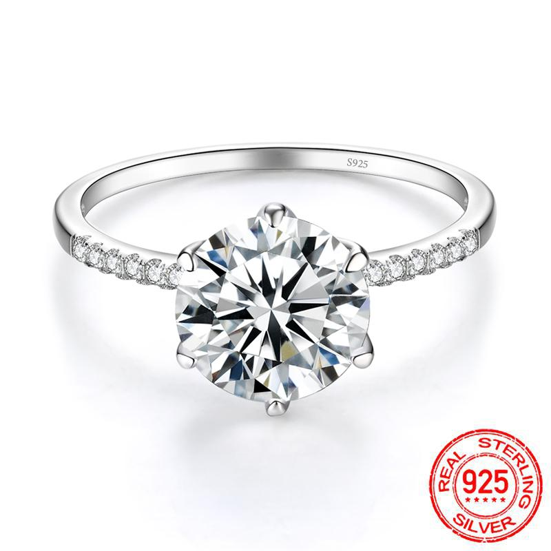 Romantic Engagement Rings for Women Lovers' Gift 925 sterling silver Jewelry 2 ct Cubic Zirconia Charms Ring Bijoux XR419