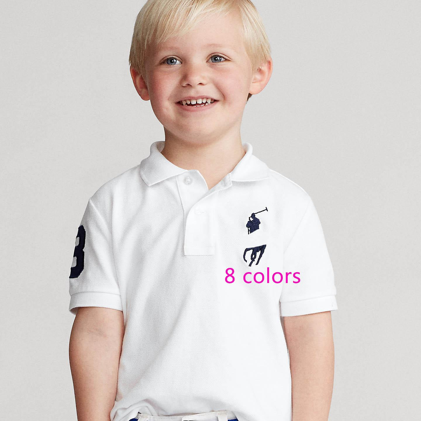 Enfants Polos T-shirt Summer Boy Girl confortable Top Angleterre Style Classic Baby Polo Teesclothing Solide Solide 8 Couleurs T-shirts