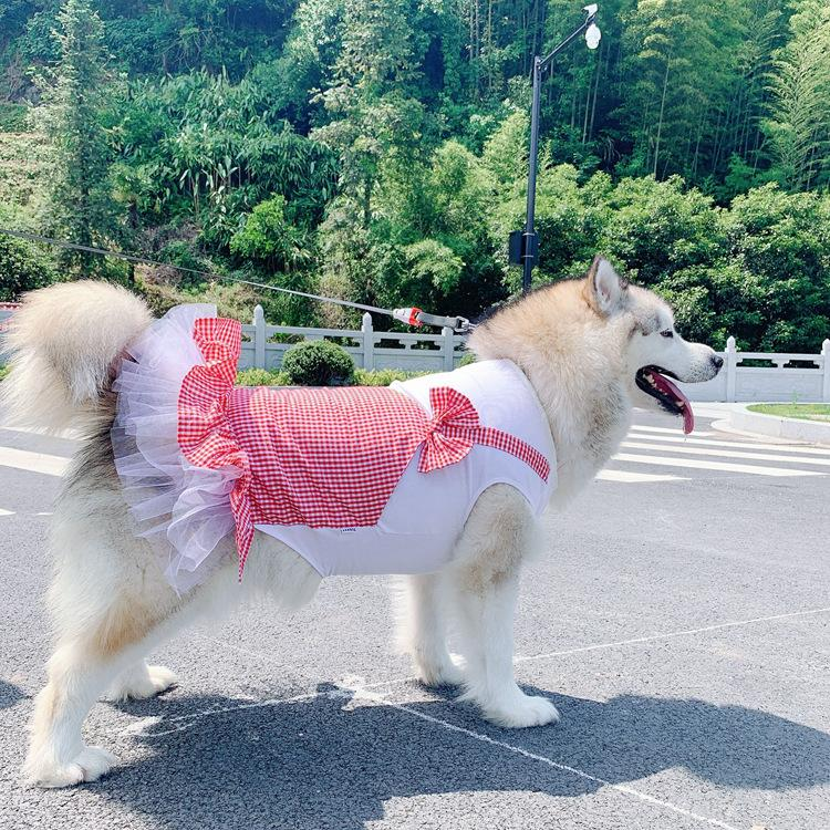 Designer Pet Dog Apparel luxury L Summer Red And Yellow Plaid Skirt Teddy Cat Cotton Dress Two Legs Wear For Middle Small Dogs Clothes SMLXLXXLXXXL