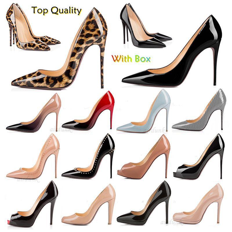 أعلى جودة الأزياء حتى كيت أنماط المرأة اللباس أحذية القيعان الأحمر عالية الكعب مثير أشار تو الوحيد 8 سنتيمتر 10 سنتيمتر 12 سنتيمتر مضخات حذاء الزفاف الأسود لامعة