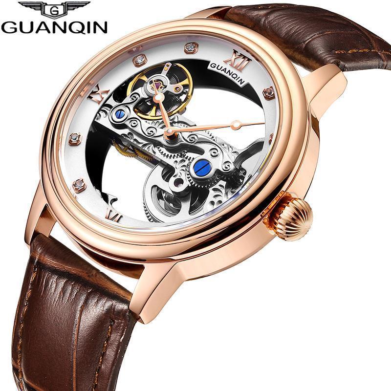 Наручные часы Guanqin Светящиеся Часы Турбийон Скелет Автоматические Мужчины Спорт Механические Часы Водонепроницаемый Золотой Relogio Masculino