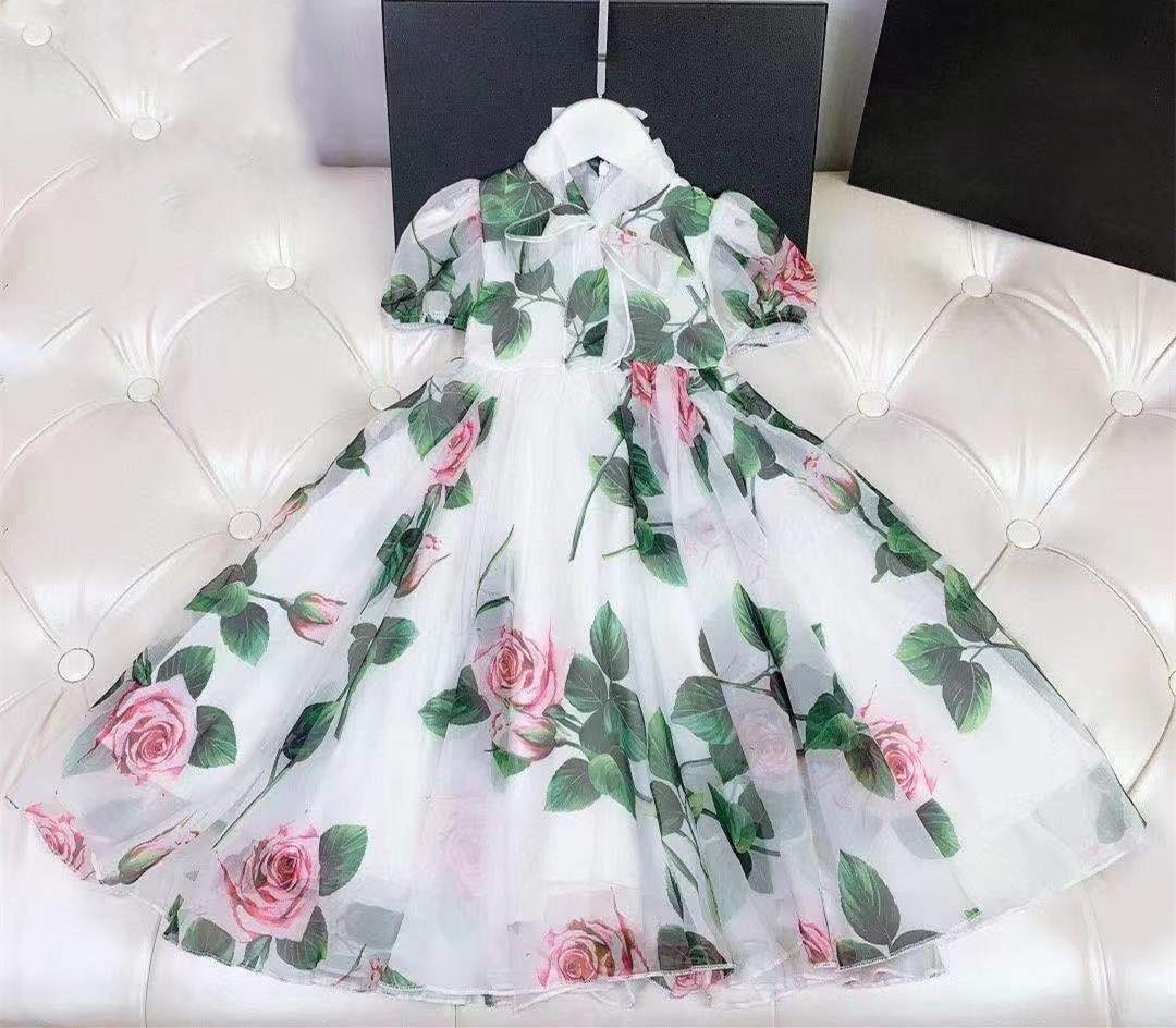 2021 Yeni High-end Çok Güzel Kız Elbise Prenses Kostüm Çocuk Çocuk Elbiseler Giyim Beyaz Prenses Elbise
