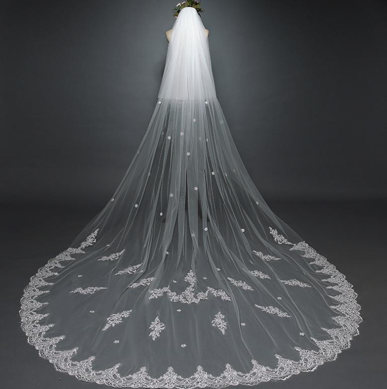 2021 Bony Blume Bridal Schleier Neue Koreanische Hochzeitskleid Braut Retro Auto Knochen Spitze 3 Meter langes Schwanz Weiche Kopfschmuck