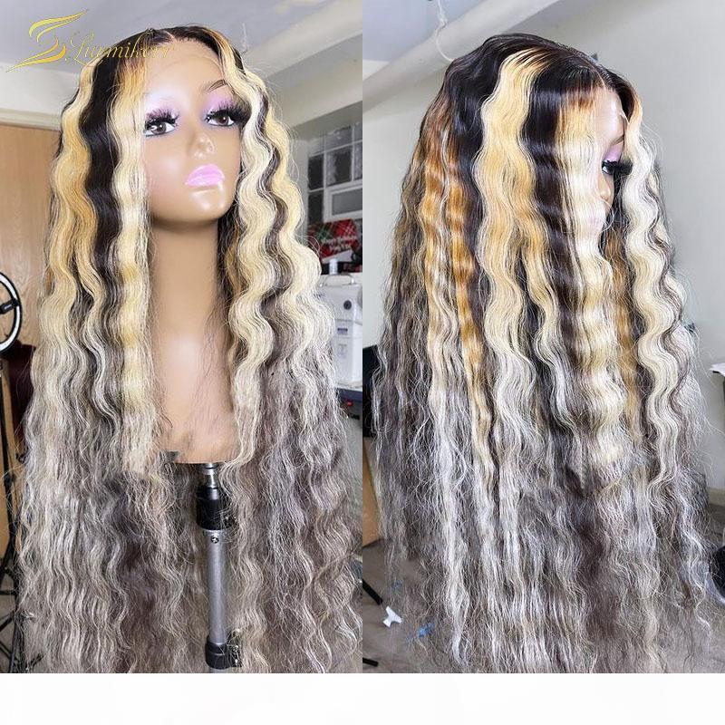 Vague profonde 613 Perruque avant en dentelle blonde Prépliquée HD TRANSPARENT Dentelle ombre Perruques de cheveux humains pour femmes noires Full Frontal