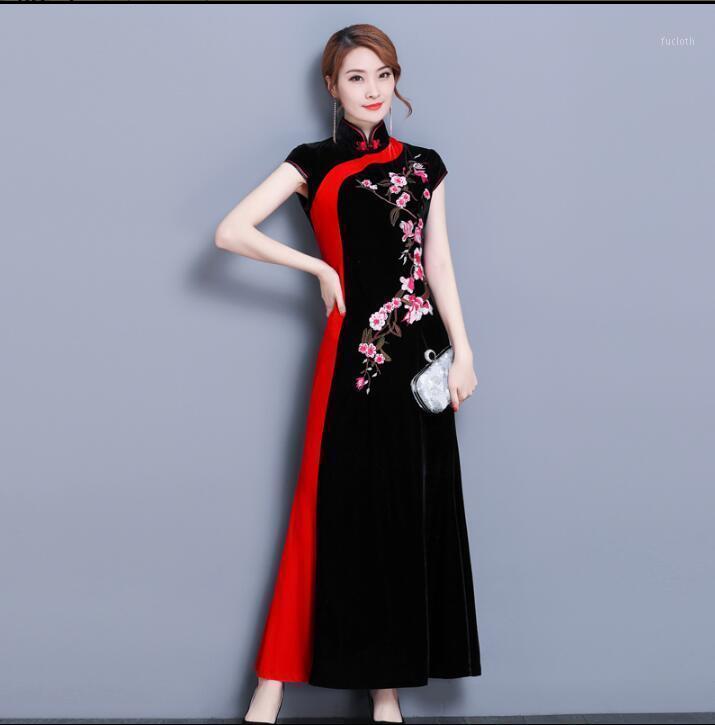 봄 레드 cheongsam 현대 중국 전통 드레스 여자 골드 벨벳 cheongsam1