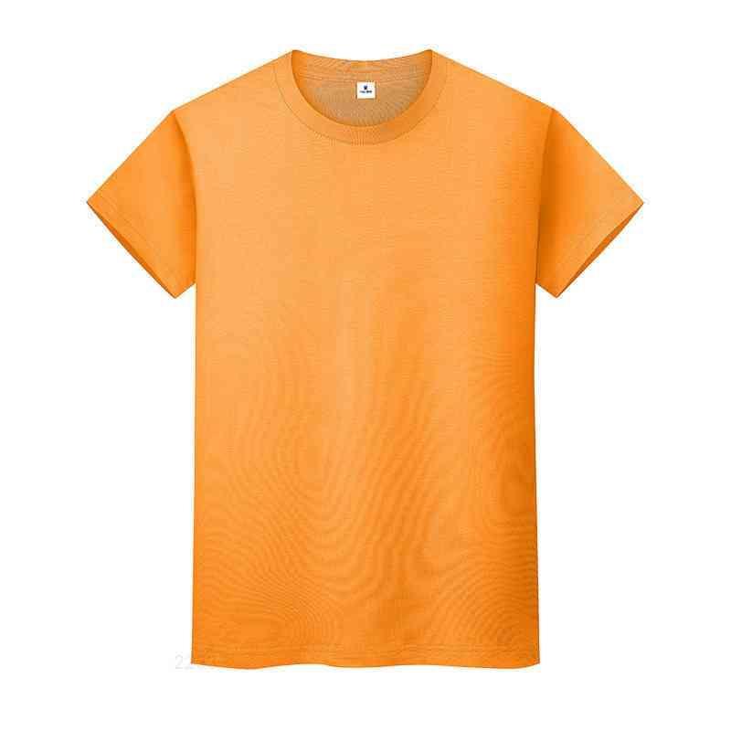 새로운 라운드 넥 솔리드 컬러 티셔츠 여름 코튼 바닥 셔츠 반팔 망 및 여성 반팔이