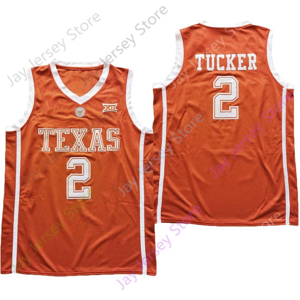 2021 New NCAA College Texas Longhorns Jersey 2 터커 옐로우 사이즈 S-3XL 자수 모든 스티치 남성 청소년