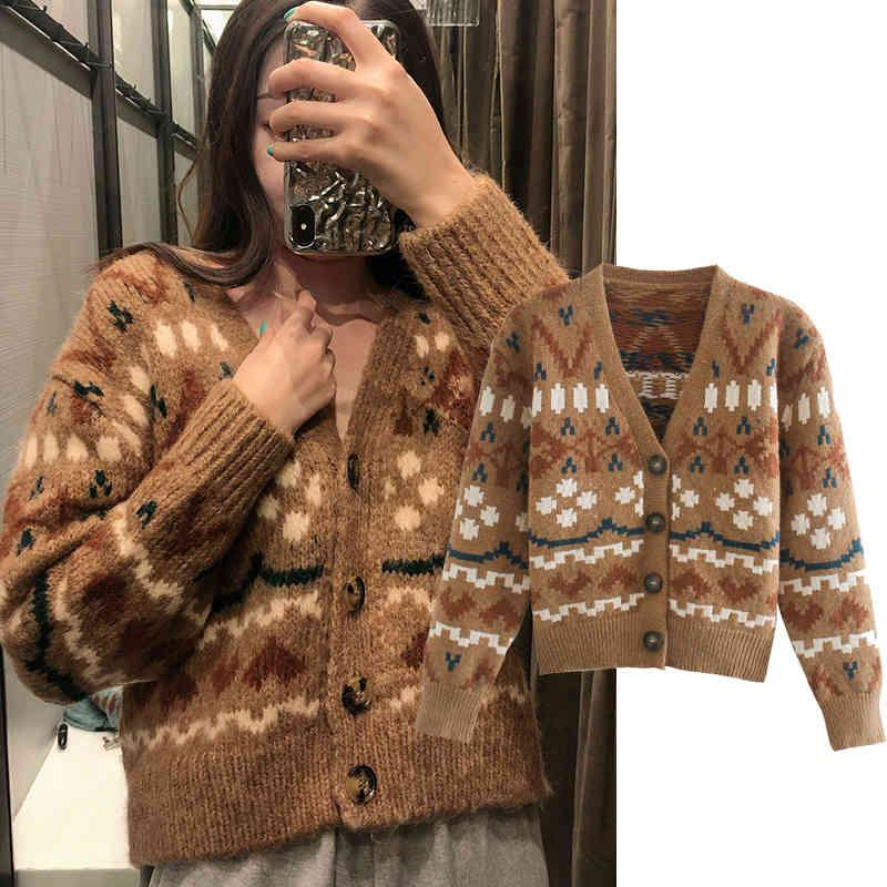 Women's Two Piece Pants ZA Women flower embroidery knitted sweater color Single breasted decorative V Neck Cardigan Casual 7K9F