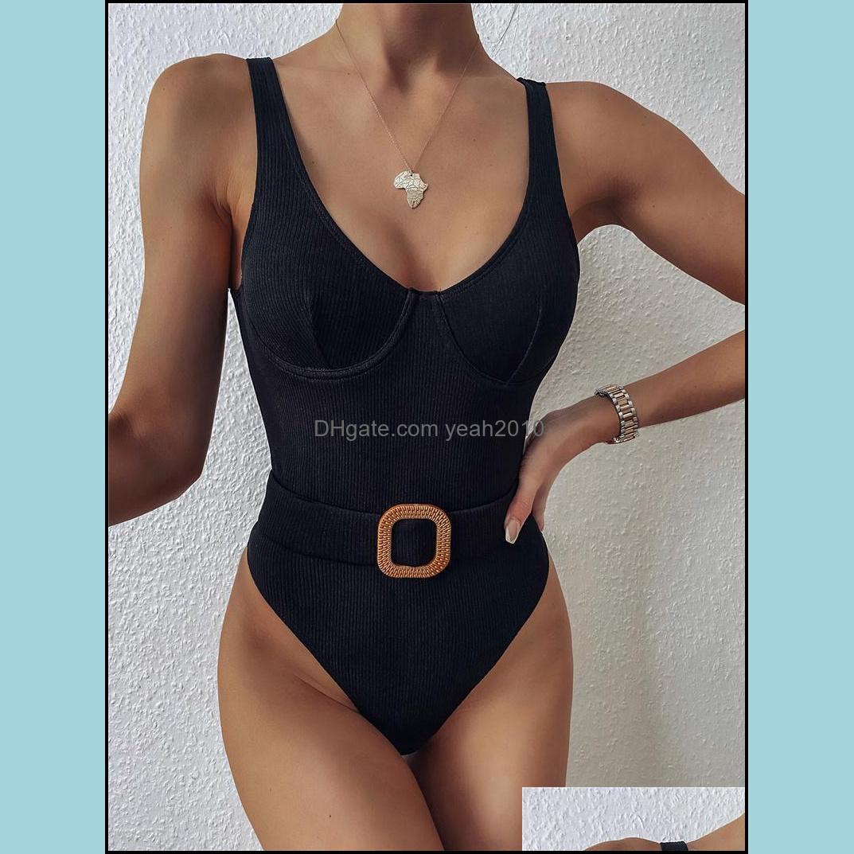 Biquinis Set Equipamento Esportes Ao Ar LivreCasual One Piece Bikini Conjuntos Elegantes Ternos de Banho Escavados Natação Terno Sólido Cor Mulheres Meninas B