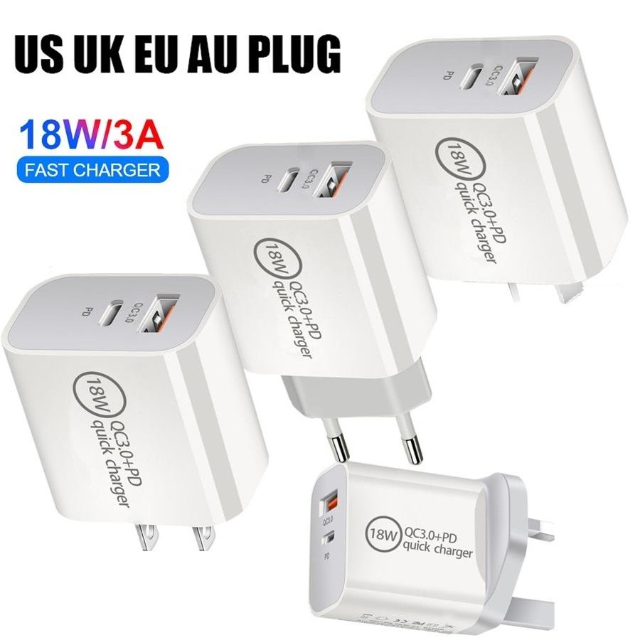 18W سريع سريع شحن الاتحاد الأوروبي الولايات المتحدة المملكة المتحدة PD USB C شاحن الجدار محولات الطاقة لآيفون 8 11 XR سامسونج اللوحي الكمبيوتر الروبوت الهاتف