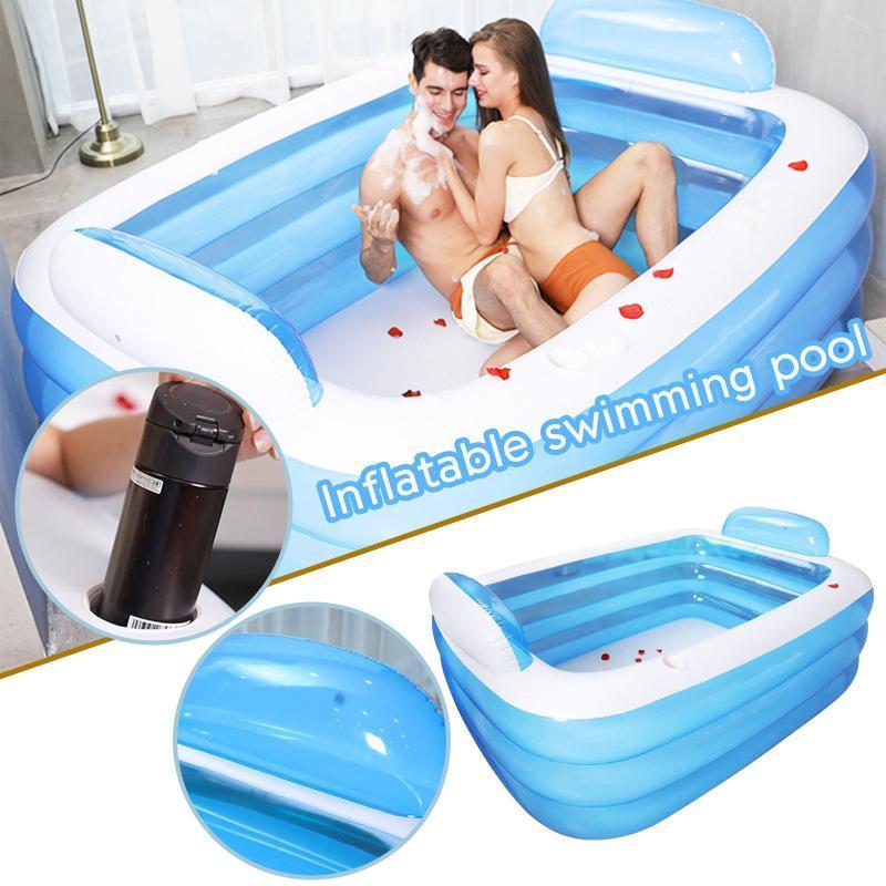 ACCESSOIRES DE PISCINE 3 COUCHES Gonflable Square Baignoire Baignoire bébé Bath pour enfants de grande piscine extérieure