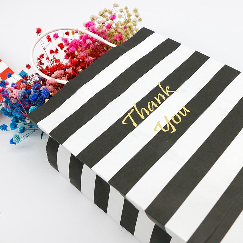 Gift Wrap 5PCS Bronzing Thank You Bags Tote Paper Stripe Packaging Candy Cookie Present Wedding Birthday Party Goodie For Sweets