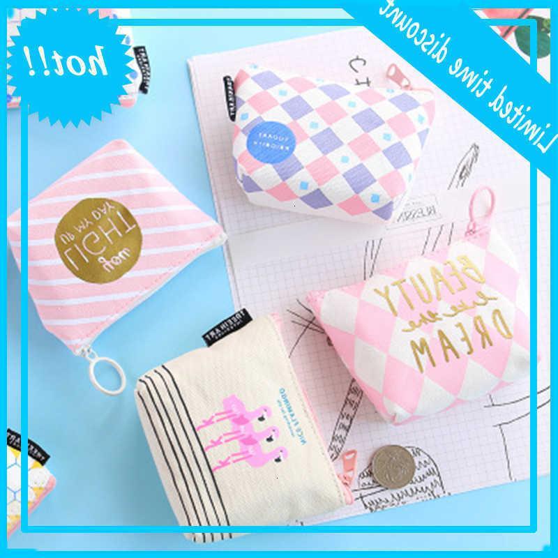 Mini Canvas Coin Purse Holder Pad Pouch Cosmetics Organizer Storage Bags Sanitary Napkin Bag Women Wallets