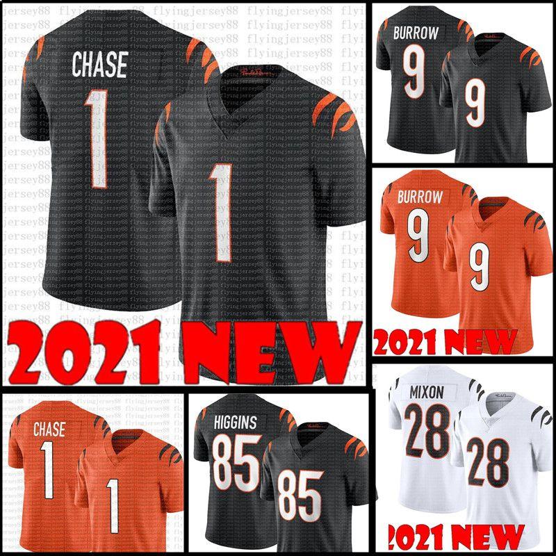 Chase Jersey 9 Joe Burrow Football Jerseys 85 Tee Higgins 28 Joe Mixon 83 Tyler Boyd 94 Sam Hubbard 2021