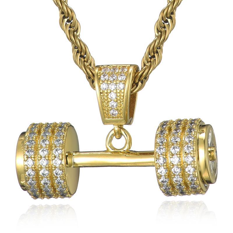 Iced Out Bling Rhinestone Cadena Cadena Collar Barbell Gym Fitness Dumbbell Color de oro Colgantes de mano Collares para Hombres Joyería