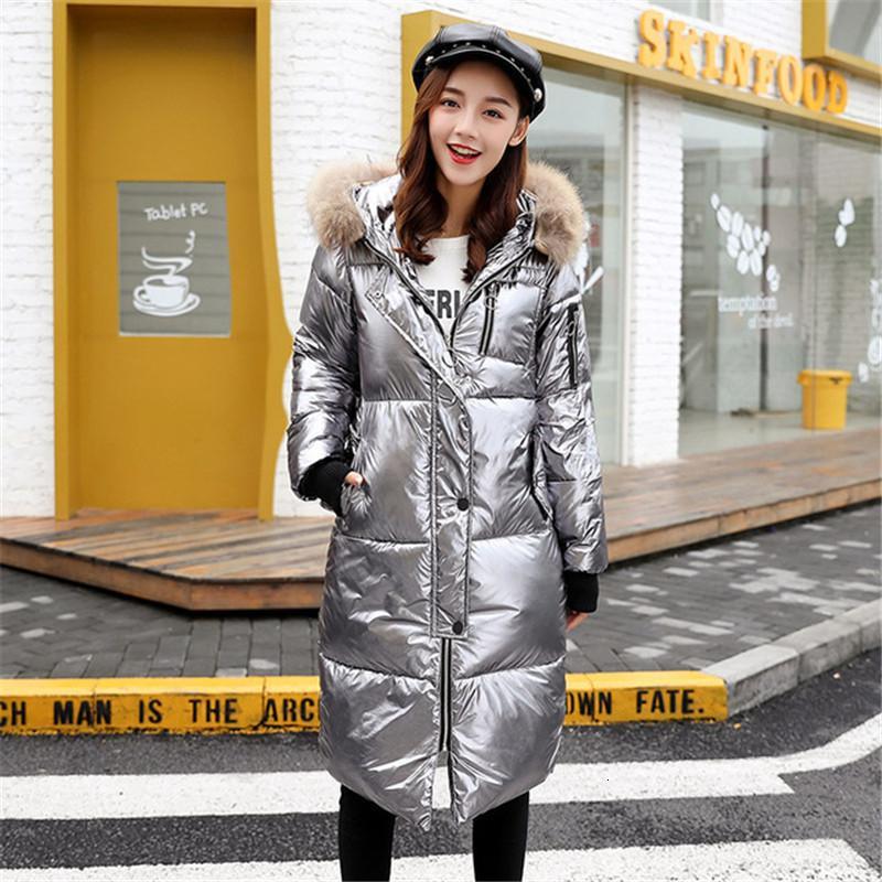 2021 Cappotto di cotone Abbigliamento da donna Abbigliamento lungo Sezione lunga Faux Fur Collo Glossy Grande Dimensioni Allentati Giacca Allentato Ladies Parker Soprabito