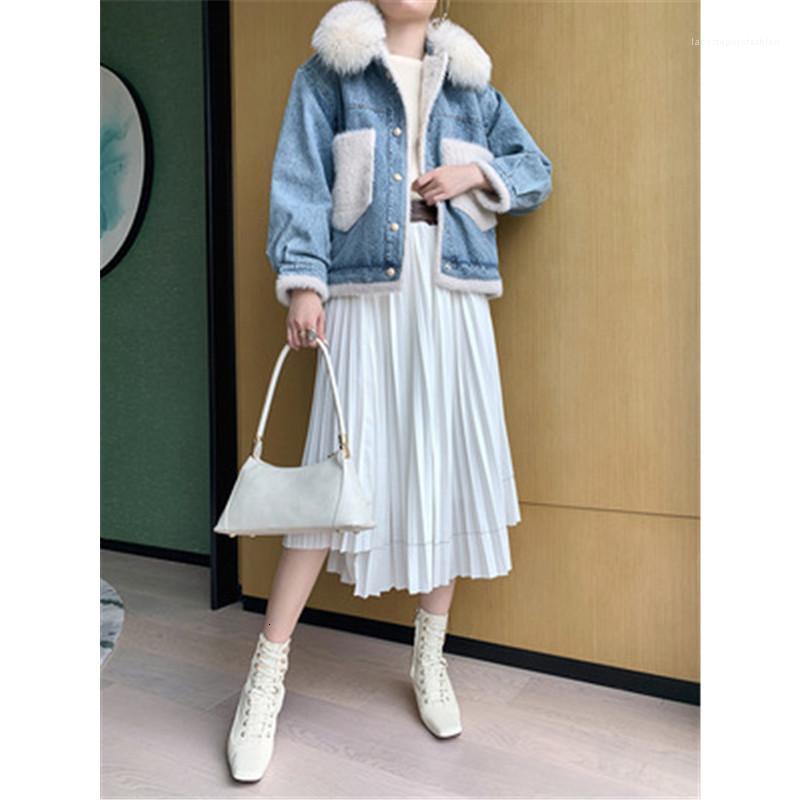 Frauen Womens Pelzkragen Denim Jacken Mode Trend Spleißen Plüsch Langarm Cardigan Mäntel Weibliche Winter Neue Verdickung Gerade Oberbekleidung