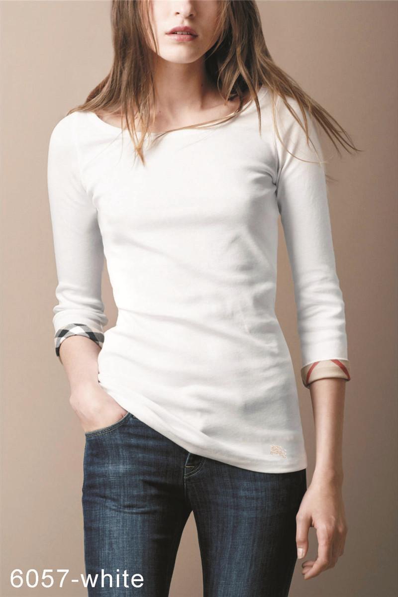 2021 New Design Design Mezza manica in cotone O-Neck T-Shirt Fashion Brand Marca di alta qualità Plaid Signore T-shirt Black Bianco Pink S-XXL