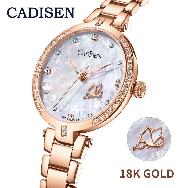 Kadın Saatler 18 K Altın Moda İzle 2021 Tasarımcı Bayanlar Gerçek Kuvars Bilek Sapphire Saat Saatı