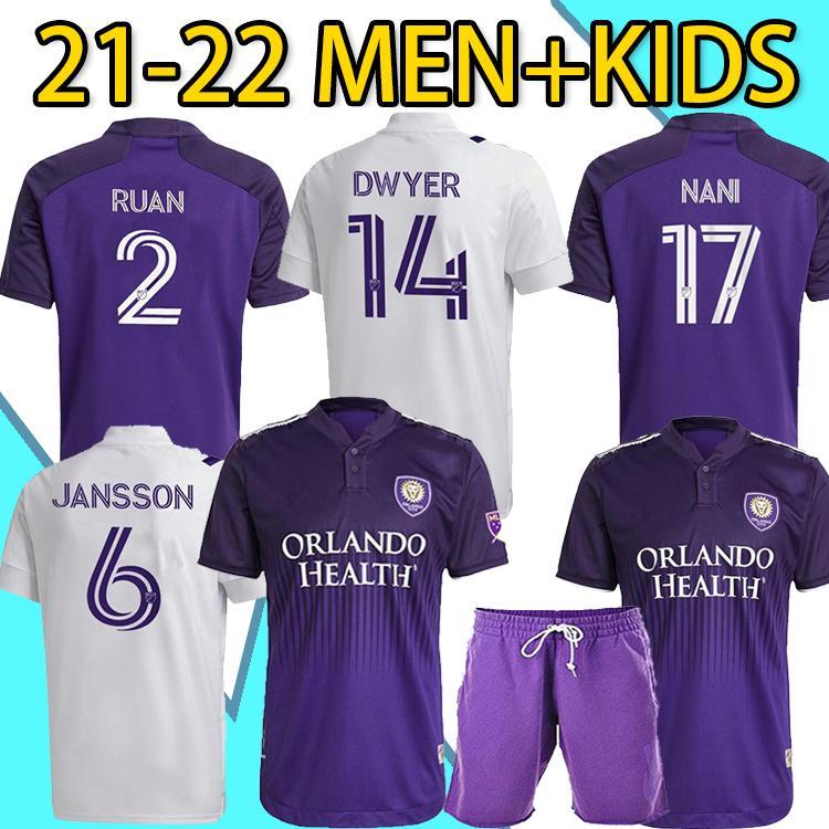 2021 كرة القدم الفانيلة MLS Club Orlando City SC بعيدا Mailleot De Foot 21 22 # 17 Nani # 9 Mueller # 14 Dwyer Football Offe