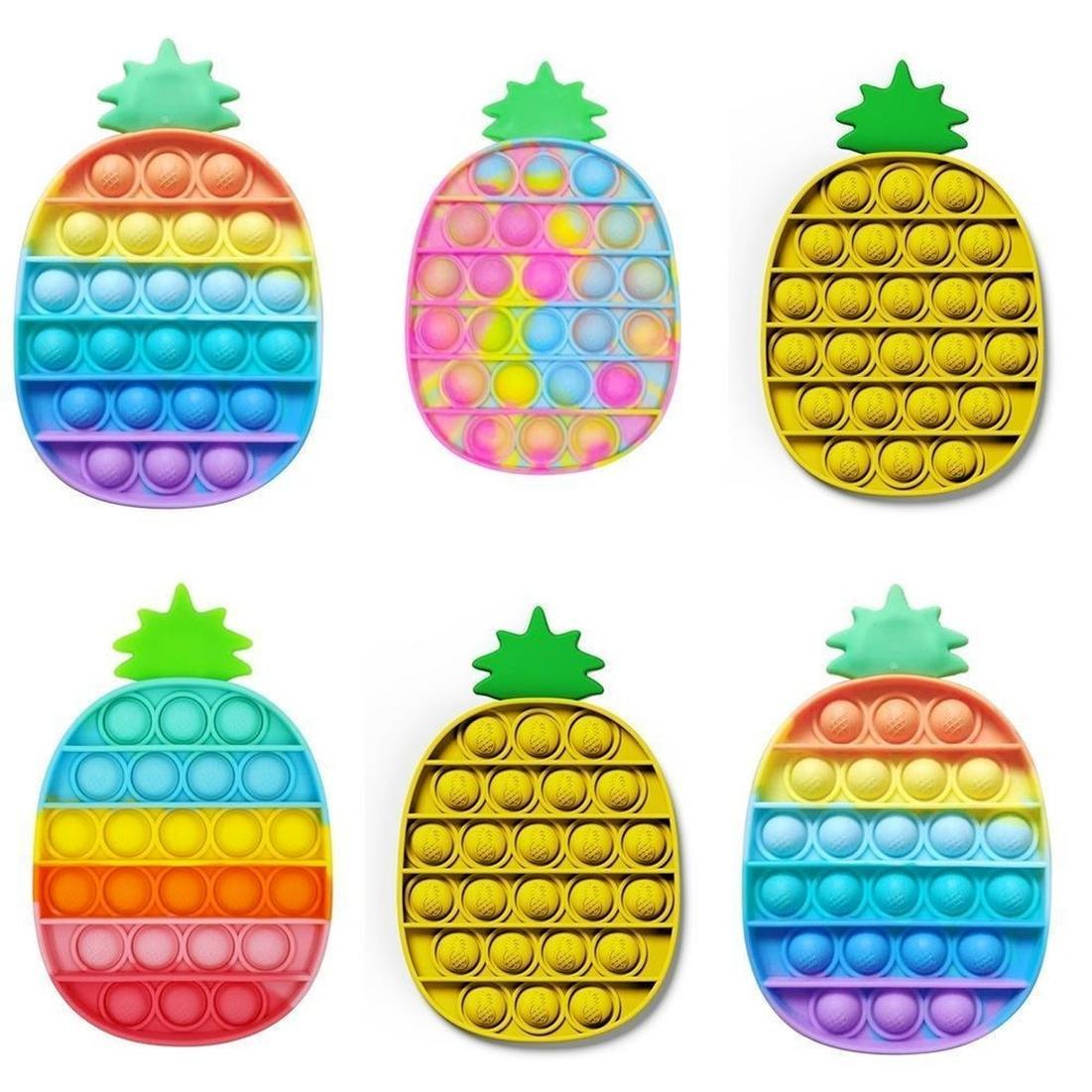 США на складе вечеринки одолжение камуфляж ананасовый сенсорное толчок пузырьки радуги цветов FIDGET игрушка стресс с облегчением образовательные сенсорные декомпрессионные игрушки