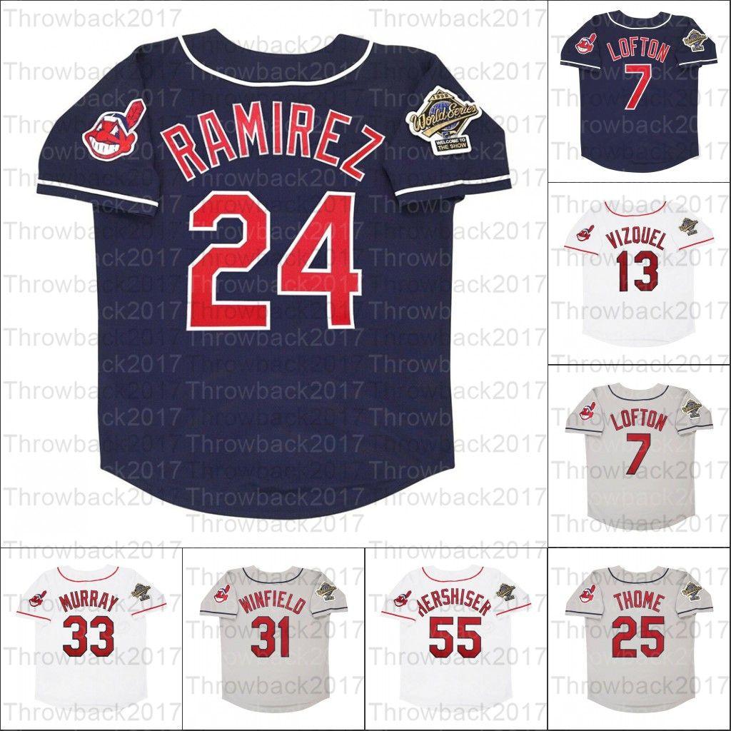 Retro Baseball Jersey 1995 Jerseys 25 Jim Thome 13 Omar Vizquel 7 Kenny Lofton 24 Manny Ramirez 8 Albert Belle 15 Sandy Alomar 55 Hershiser