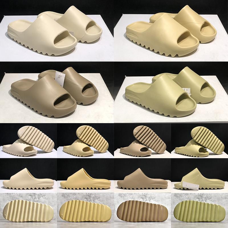 2021 Top qualité diapositive hommes femmes pantoufles résine os désert sable terrestre brun triplement noir mode hommes femmes glissières