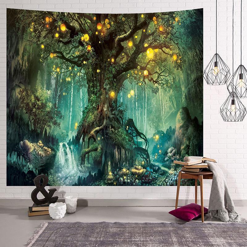 숲 동화 태피스 트리 판타지 소원 나무 룸 벽 매달려 장식 3D 마법의 나무 생명의 나무 신비로운 빛나는 초롱 태피스트리