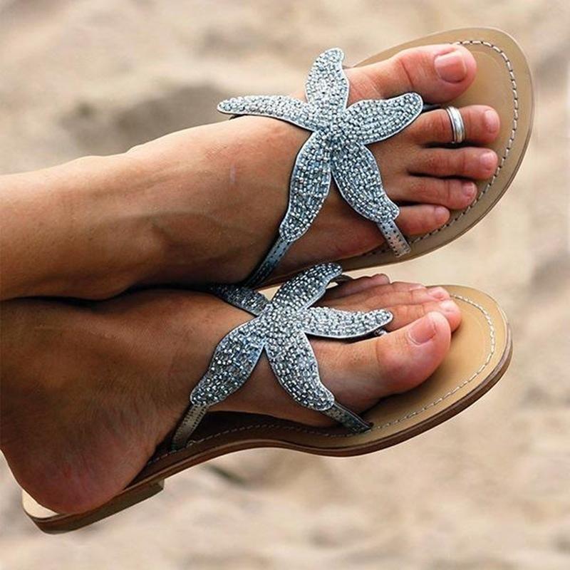 Le donne infradito le scarpe estive più taglia 35-43 pantofole da spiaggia femminili casual da donna piatta fuori moda stella marina